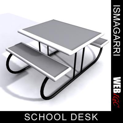 3d max school desk