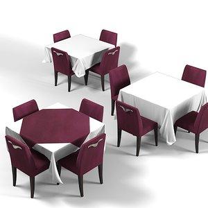 3d tablecloth rectangular restaurant model