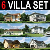 6 villa house 3d model