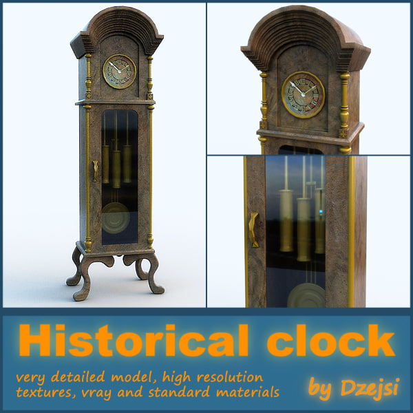 wooden historical clock 3d max