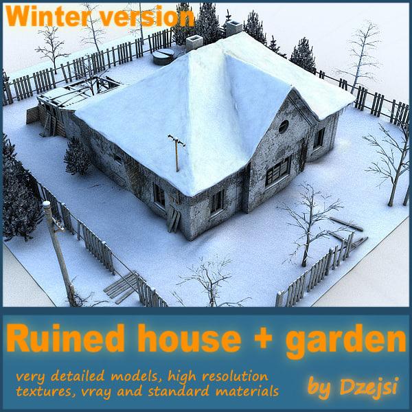 3d model ruined house interior garden
