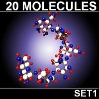3d 20 molecules model