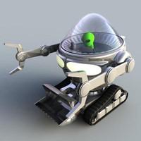 3d alien robotic tractor