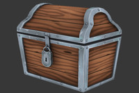 3d model hand painted treasure chest