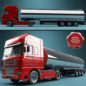 daf xf truck tank 3d 3ds