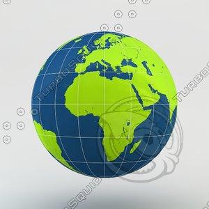 3d model earth striped