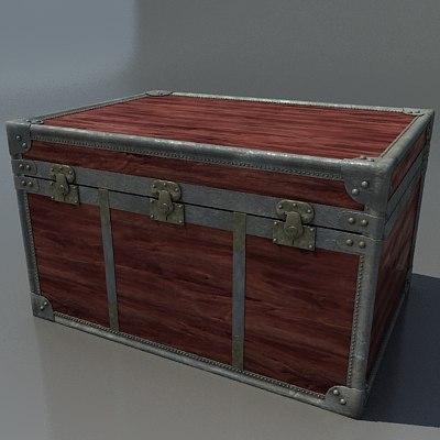 3d antique wood trunk