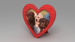3d red heart photoframe