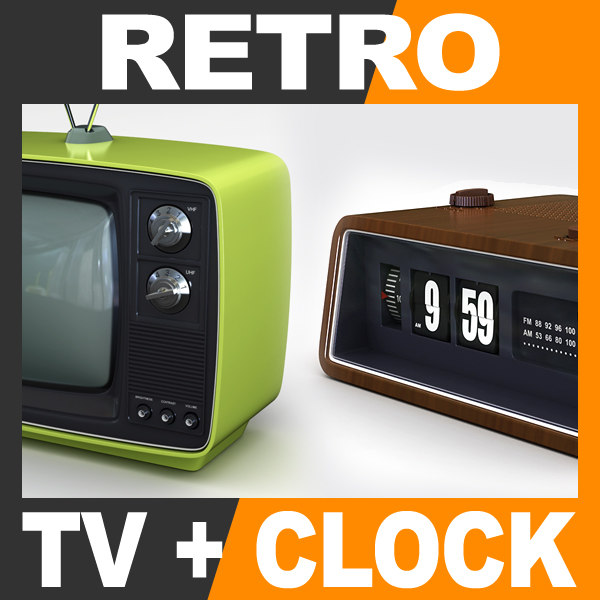 3ds max retro television set radio