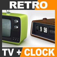 Retro Style Television Set and Radio Alarm Flip Clock