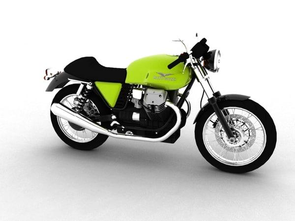 3d moto guzzi v7 café model
