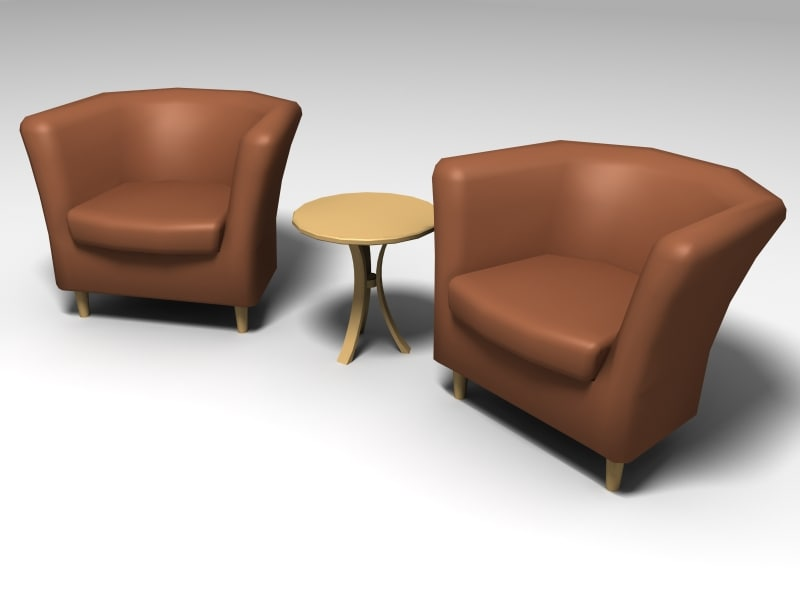 3d lounge chair table model