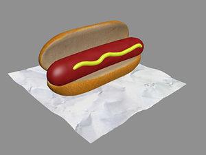 3d model hotdog sandwich soda
