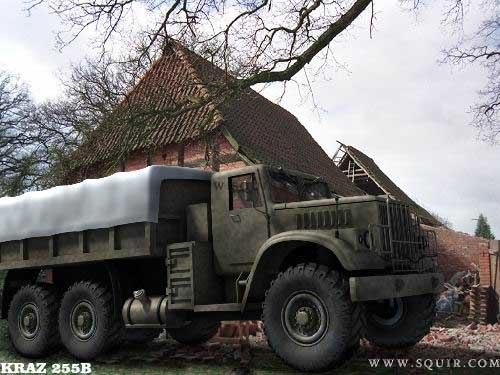 3dsmax kraz 255b truck transporting