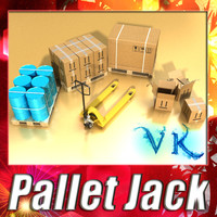 Pallet jack + pallet , boxes and barrels