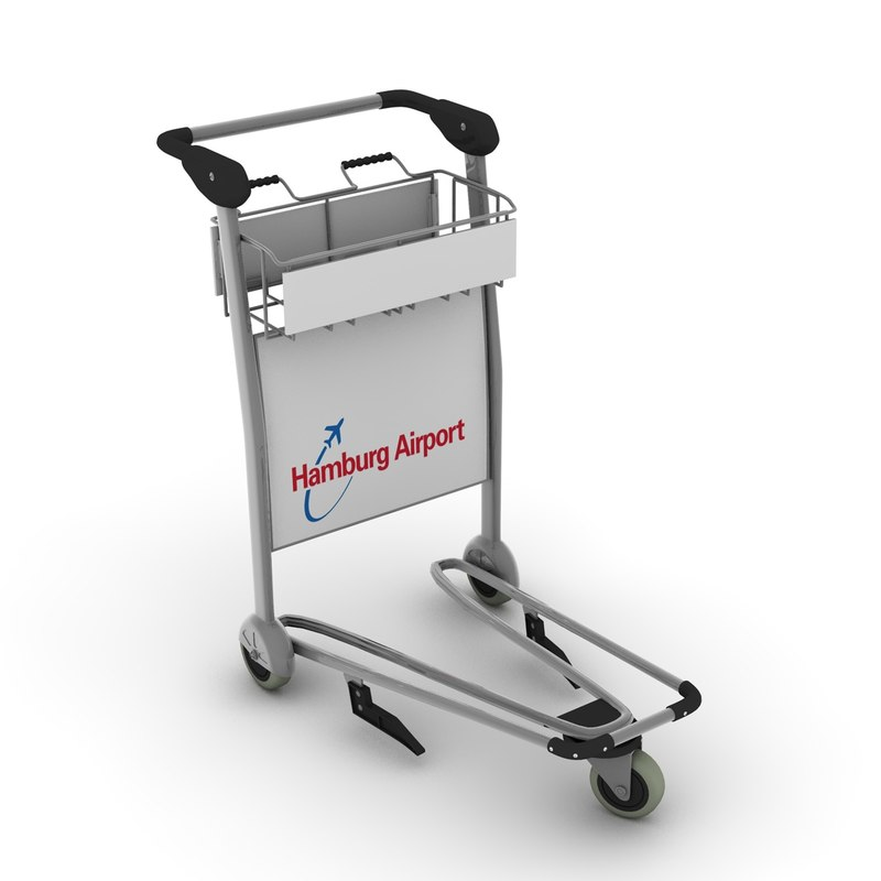 3d model airport handcart
