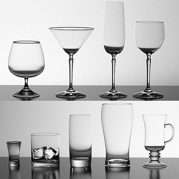 3d model glasses wine tequila