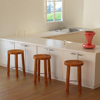 wooden stool design wood 3d 3ds
