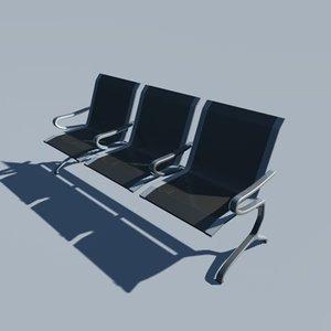 airport bench 3d obj