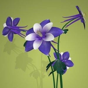 columbine flower pot pl 3d 3ds