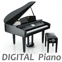 digital grand piano yamaha 3d model