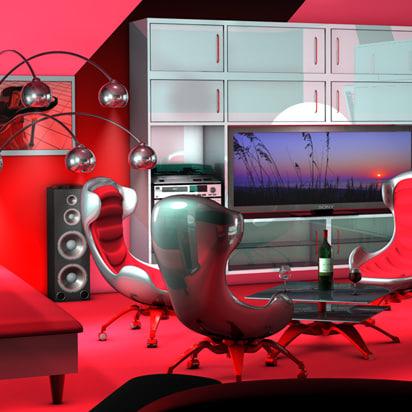 3ds living room contemporary