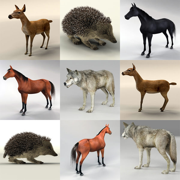 3d model horse hedgehog deer