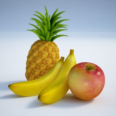 apple fruits 3d max