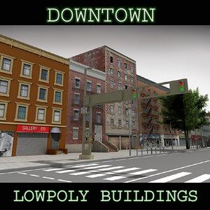 downtown buildings obj