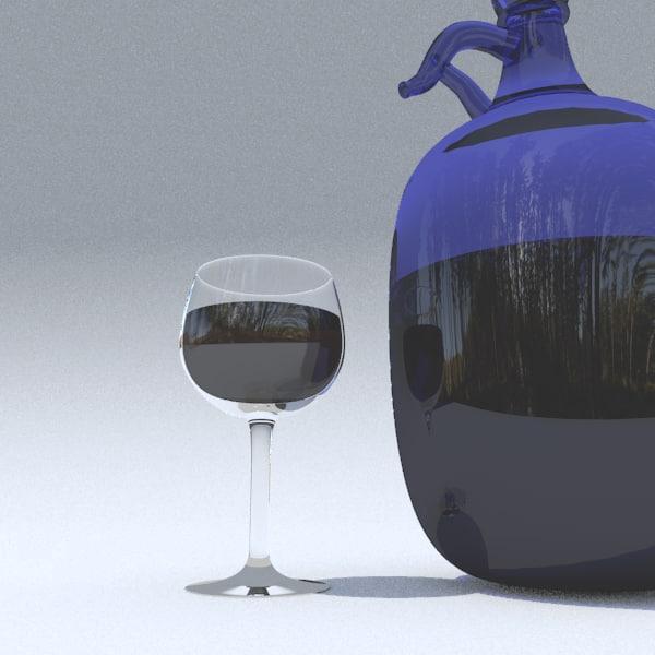 3d blue wine flask model