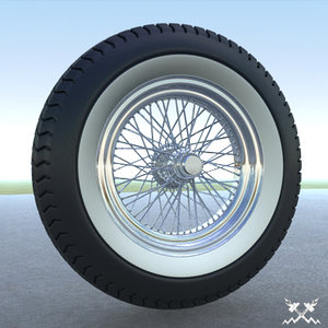 3d old timer wire wheel model