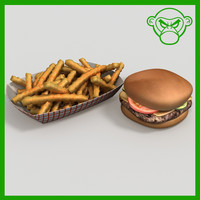 3d model cheese burger fries