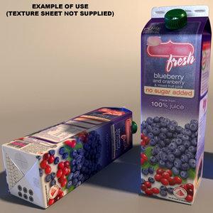 3d milk juice carton