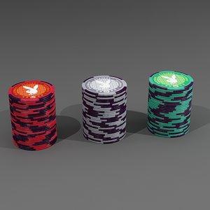 3d model of playboy 100 piece poker chip