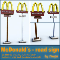 road signs mcdonald´s 3d model