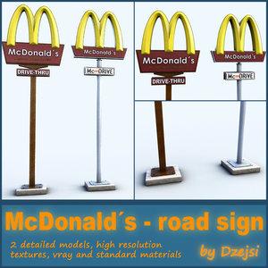 road signs mcdonald´s 3d model
