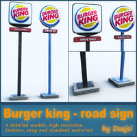 road signs burger king 3d obj