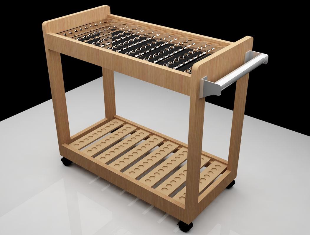 3d wooden club rack model
