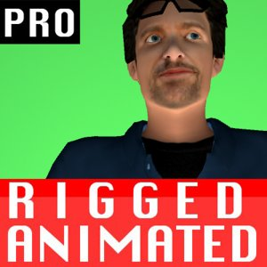 free max mode male character rigged biped