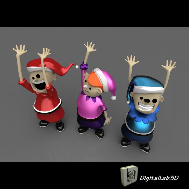 christmas elves 3d model