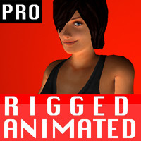 free female character rigged biped 3d model