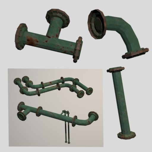 3d model pipes polys