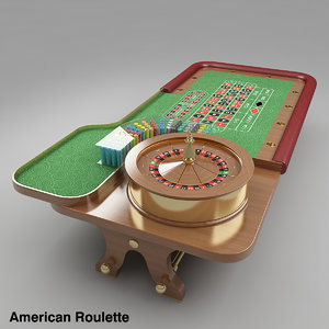 roulette table american european 3d model
