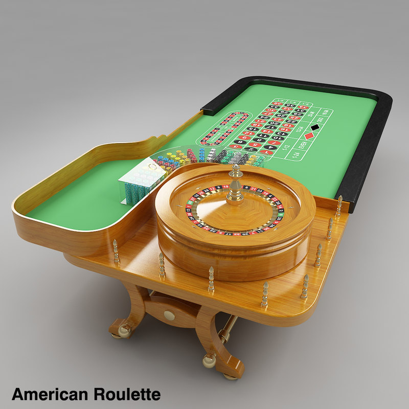 3d model roulette table american european
