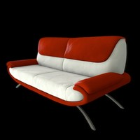 c4d modern leather sofa