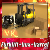 3d forklift pallet boxes barrels model