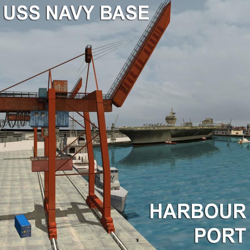 uss navy base harbour 3d model