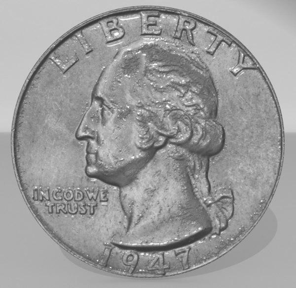 3d coin quarter model