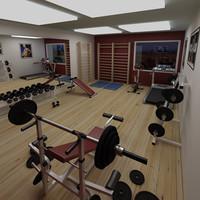 gym scene 3d model