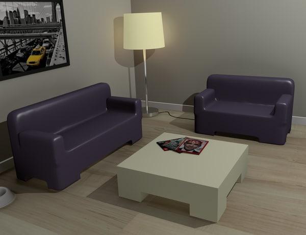 modern furniture set sofas 3d 3ds
